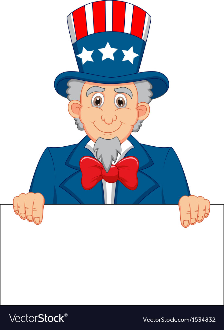 Uncle sam cartoon and blank sign vector