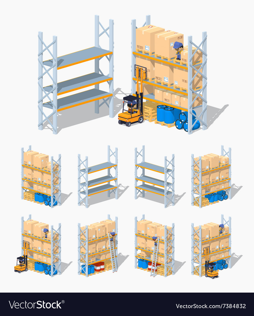 Warehouse shelves empty and loaded vector