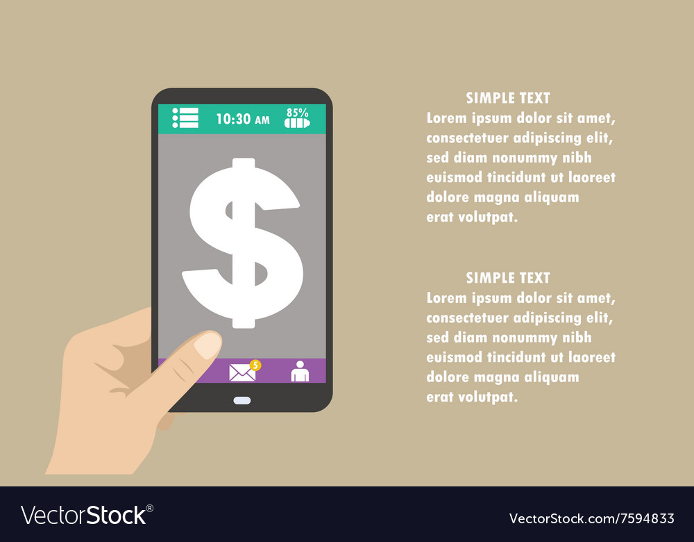 Smartphone with dollar sign on the screen vector