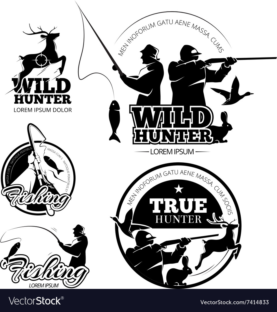 Vintage hunting and fishing labels logos vector