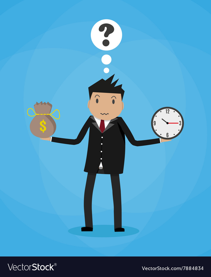 Cartoon businessman with money bag and clock vector