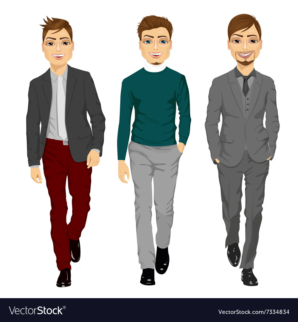 Portrait of young men walking forward vector