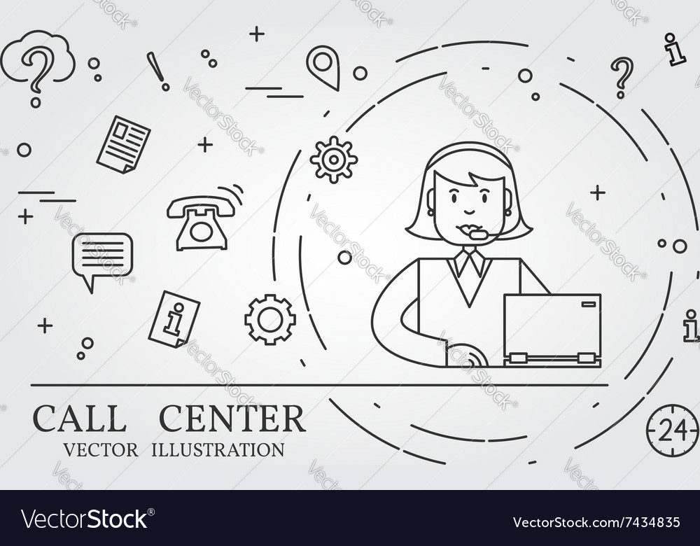 Call center thin line design vector