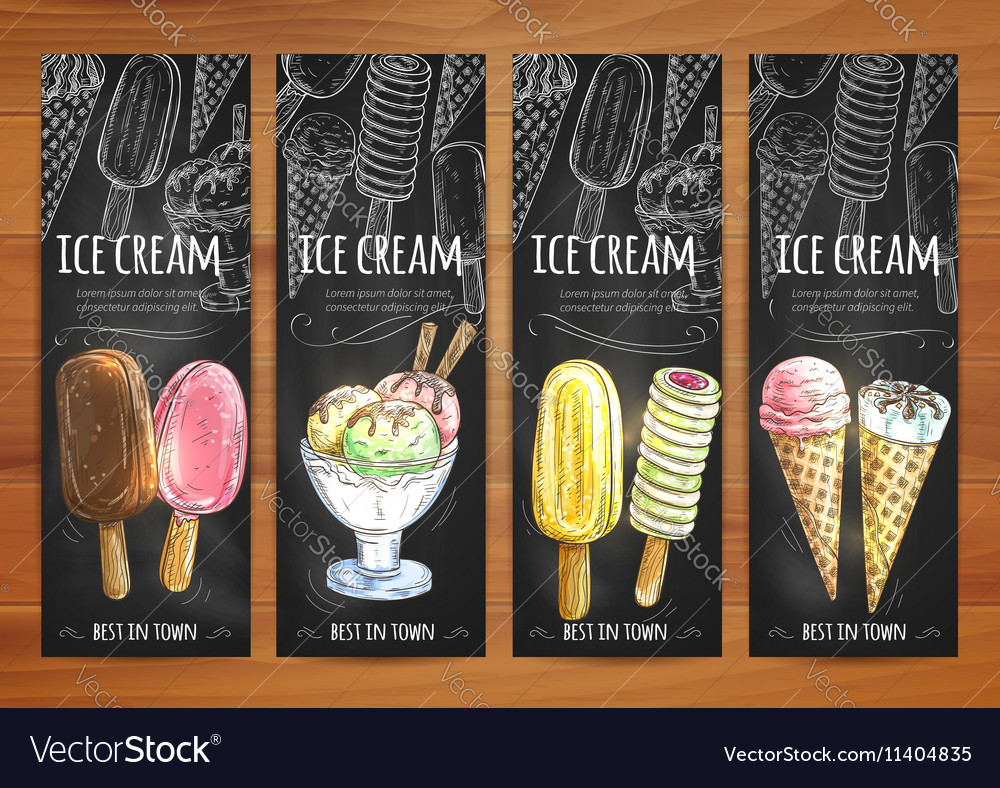 Ice cream menu sketch chalk icons on blackboard vector