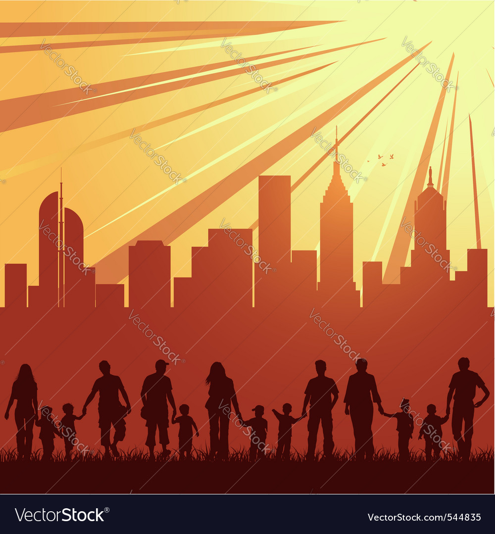 Urban city family silhouettes vector
