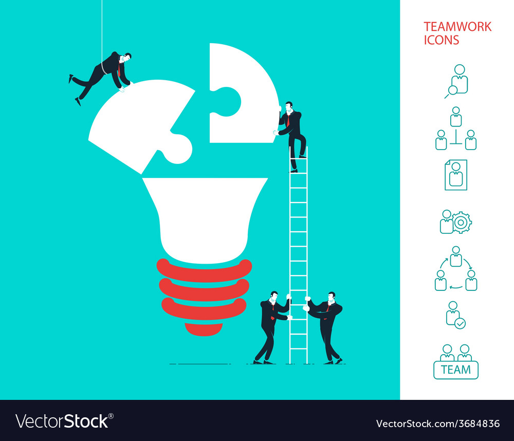 Flat design concept of team work vector