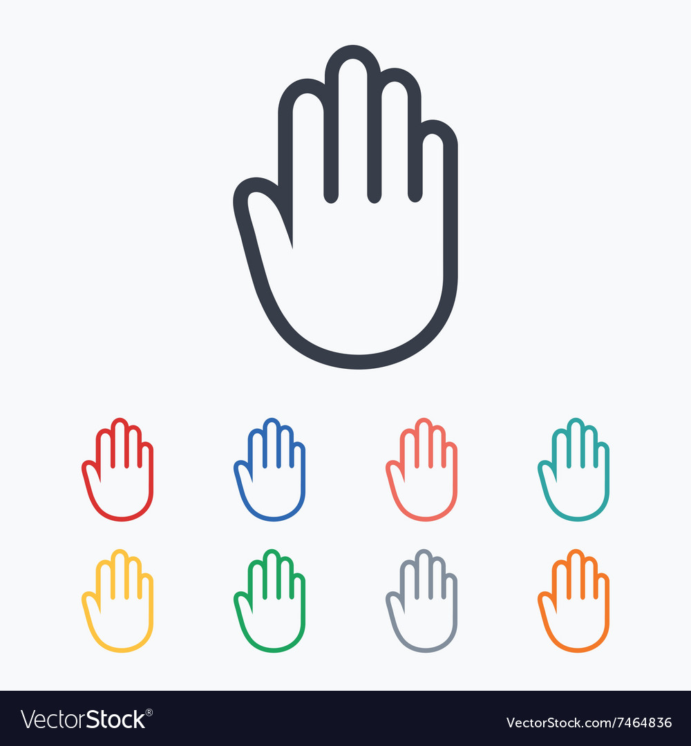 Hand sign icon no entry or stop symbol vector