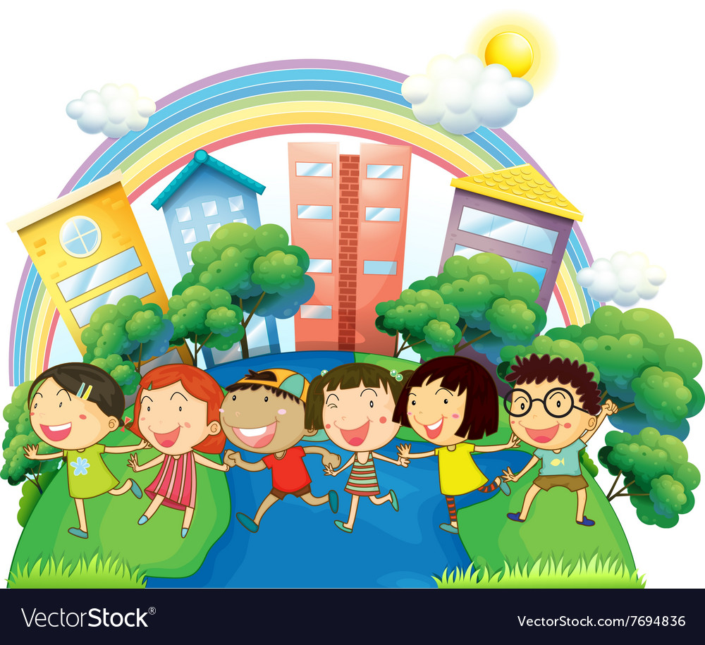 Happy children running in group vector