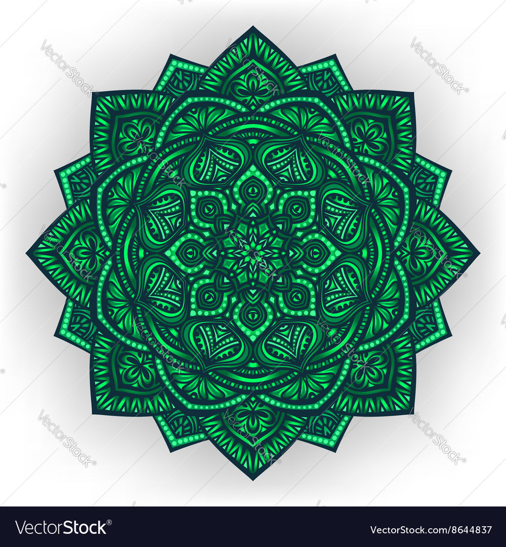 Green floral round ornament white background vector