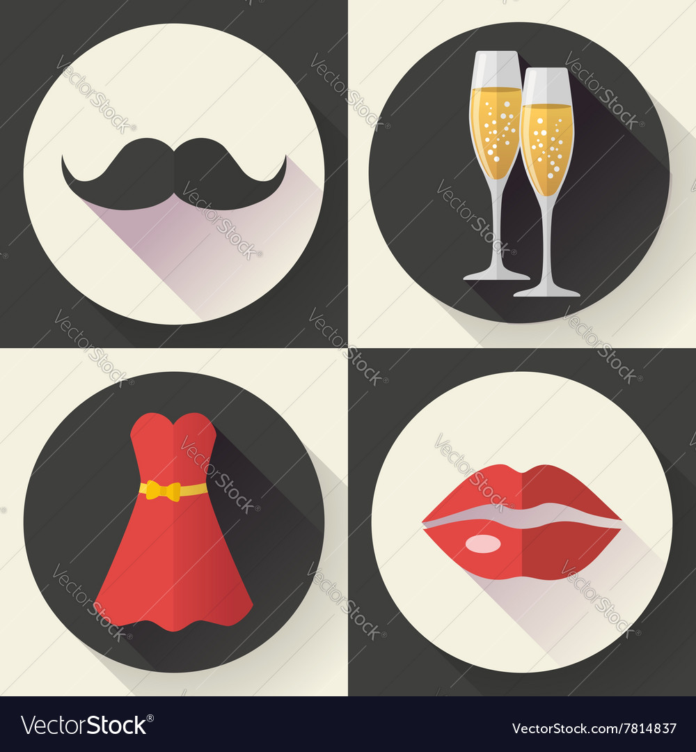 Romantic date icons flat design style vector