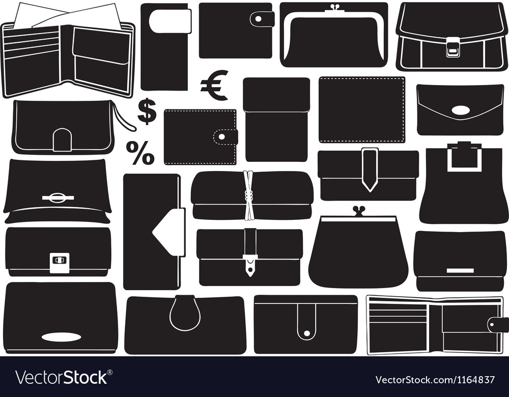 Set of different wallets vector
