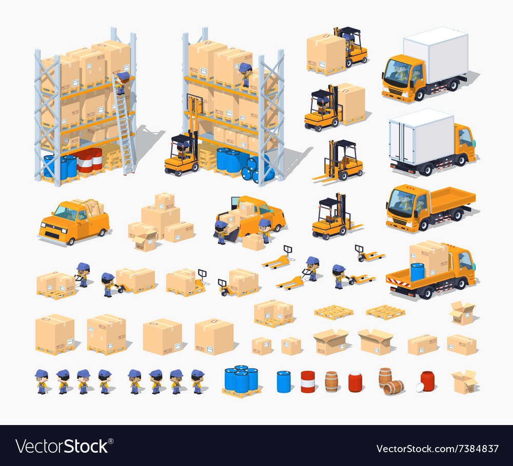Warehouse set of objects vector