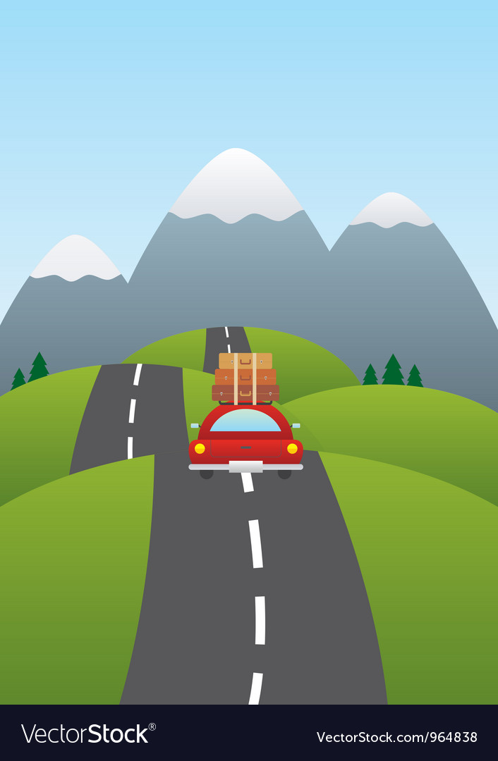 Car on the road vector