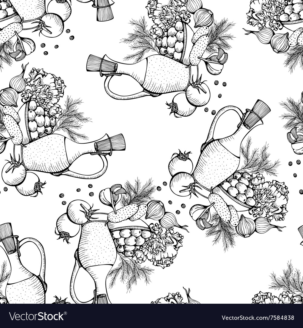 Seamless pattern of still life with vegetables vector