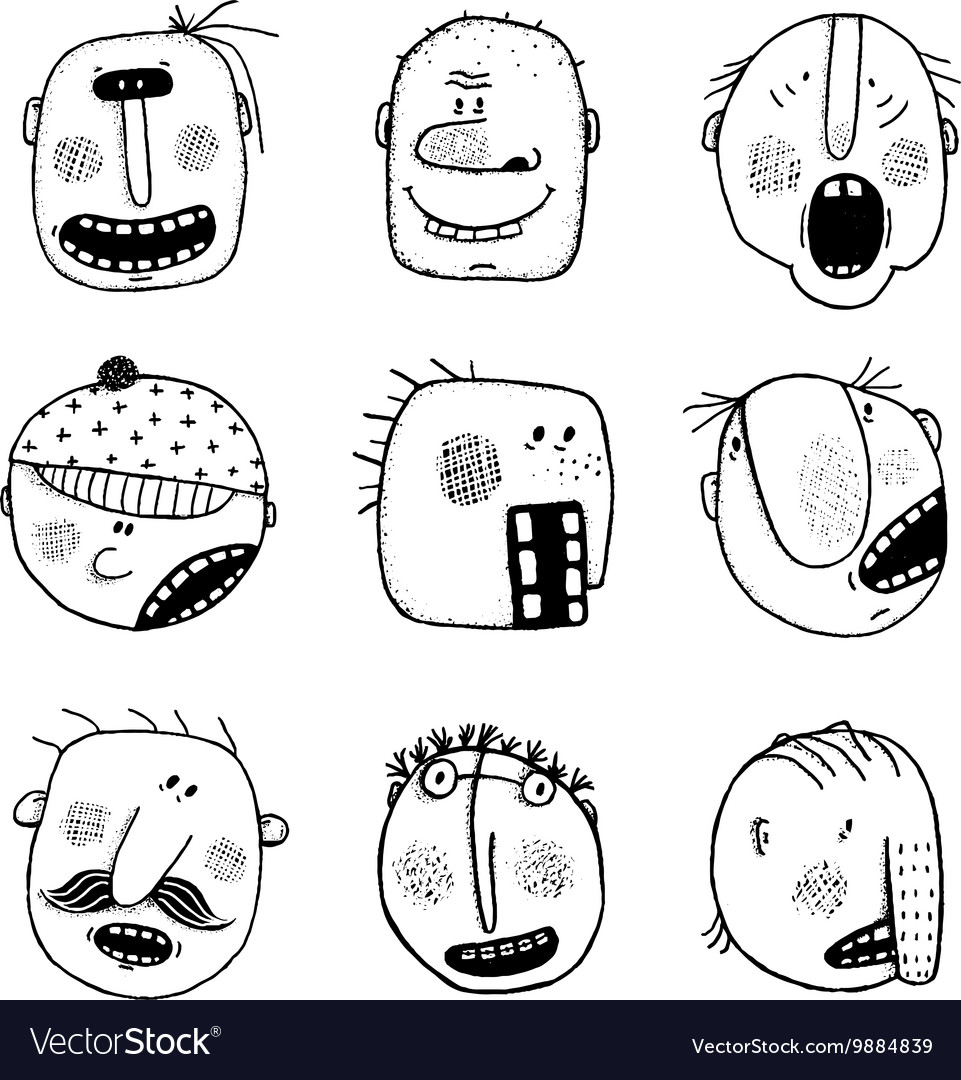 Modern doodle drawing outline cartoon people faces vector