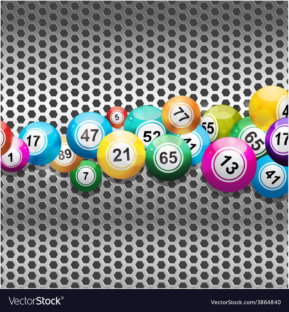 Bingo balls on silver metallic mesh vector