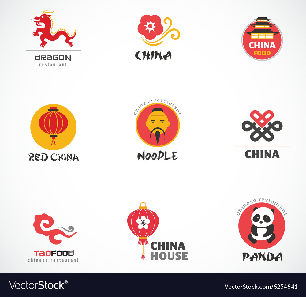 Chinese restaurant and coffee shops icons menu vector