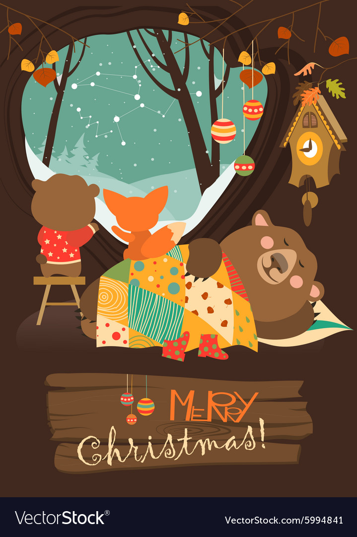 Cute bear and little fox watching snow from den vector