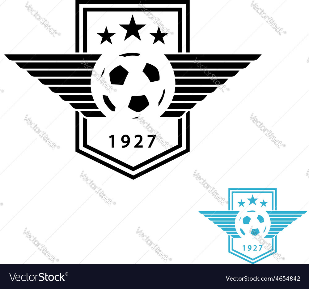 Football ball and wings mockup team logo sport vector