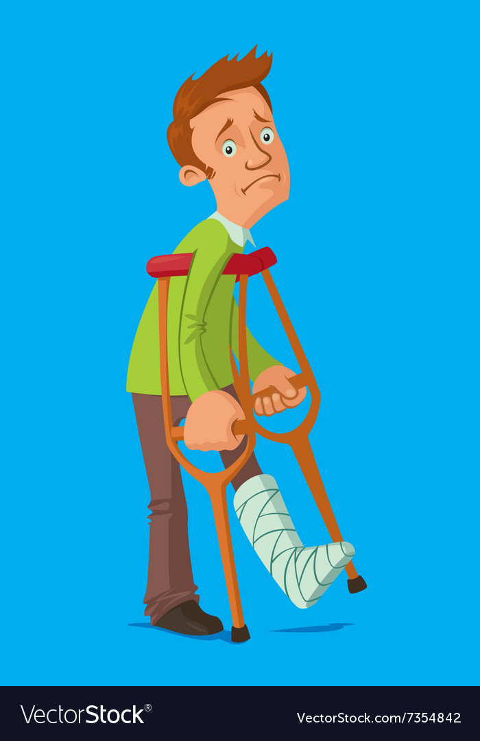 Man with crutches vector