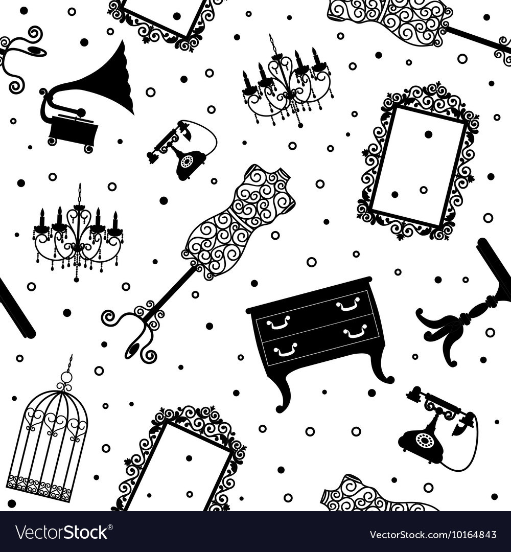 Black vintage furniture vector