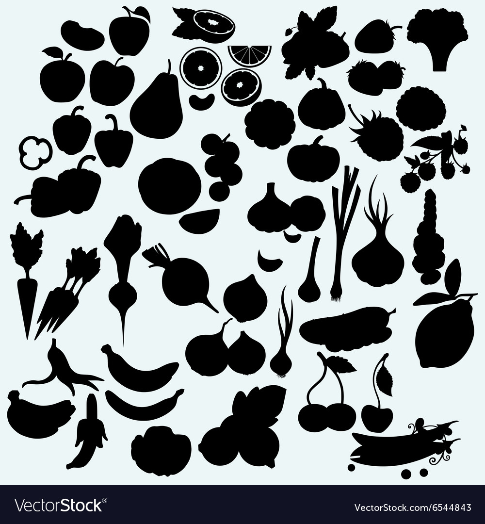 Fresh juicy fruits and vegetables set of harvest vector