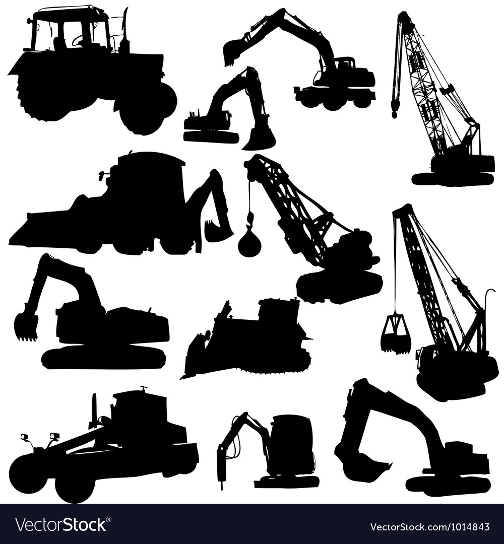 Set of silhouettes of construction machine vector