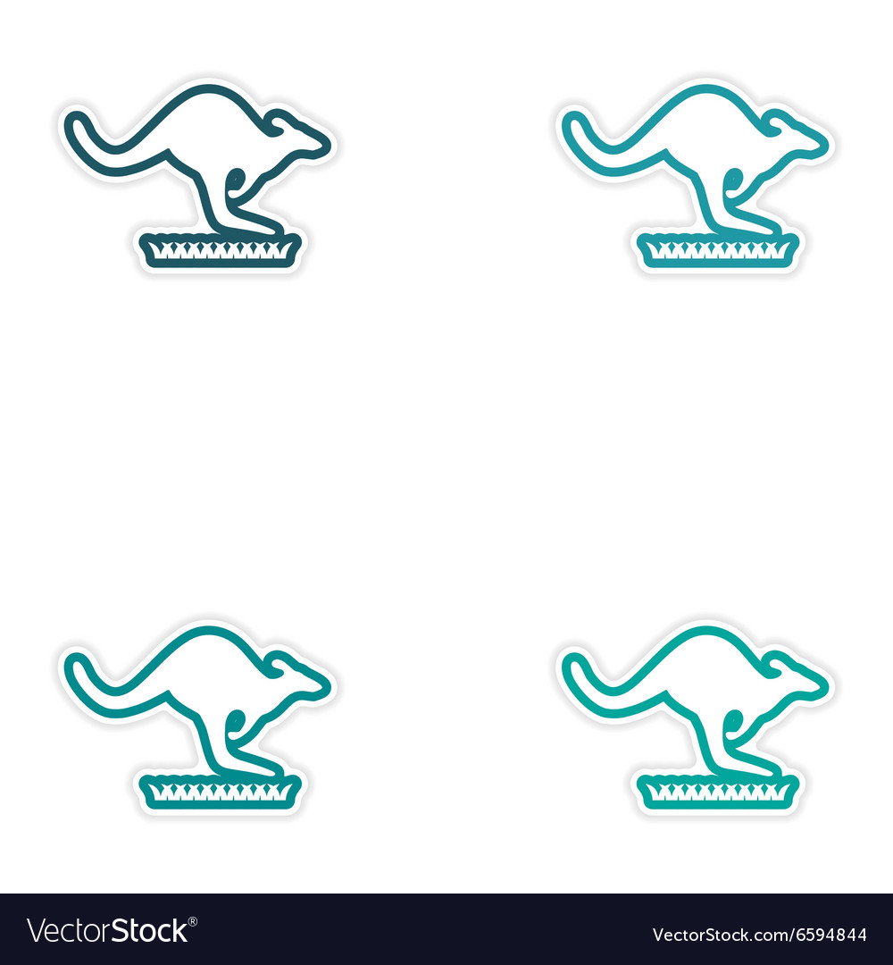 Set of stickers australian kangaroo on white vector