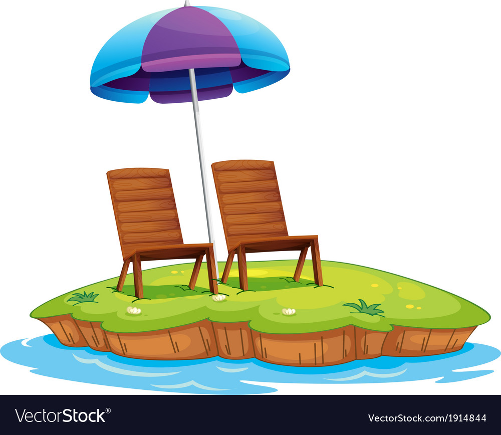 Two wooden chairs in the island vector