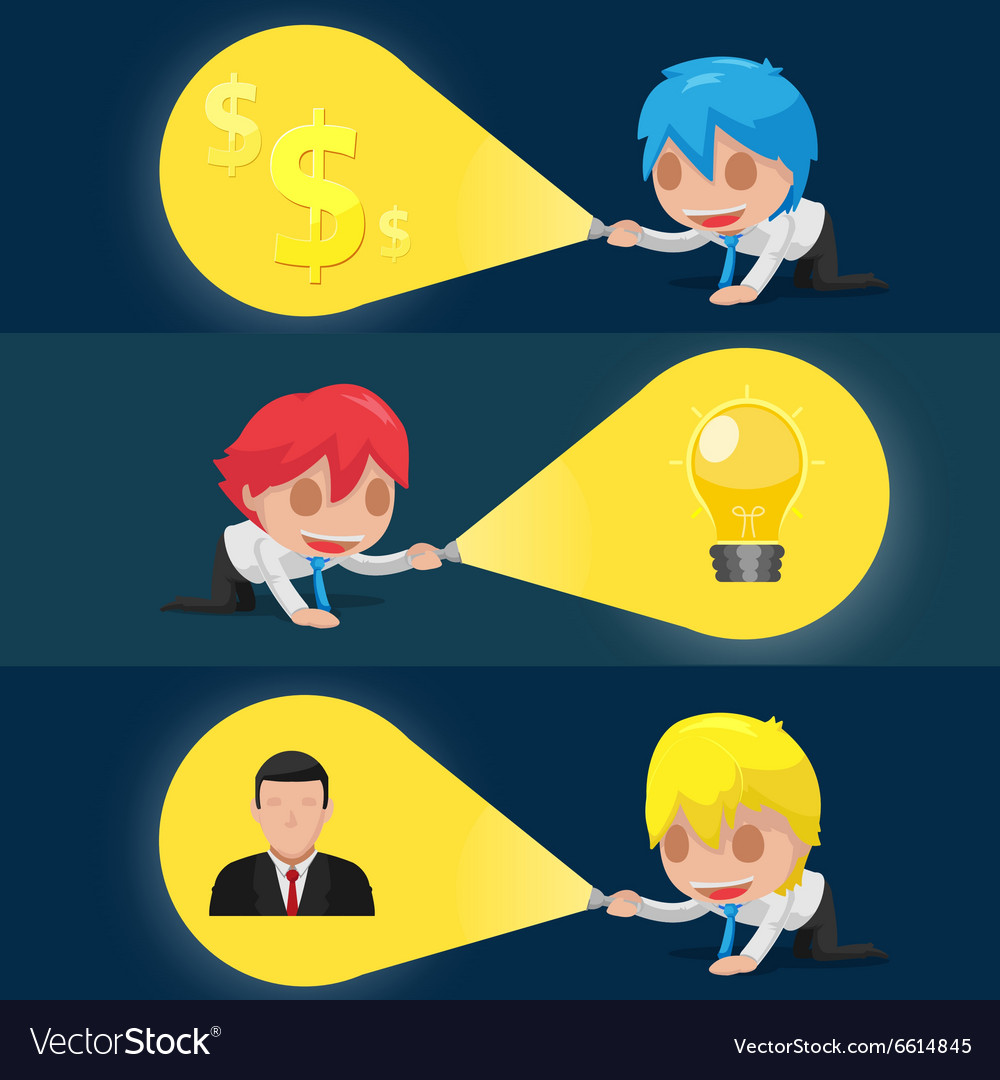 Character flashlight search business icon vector
