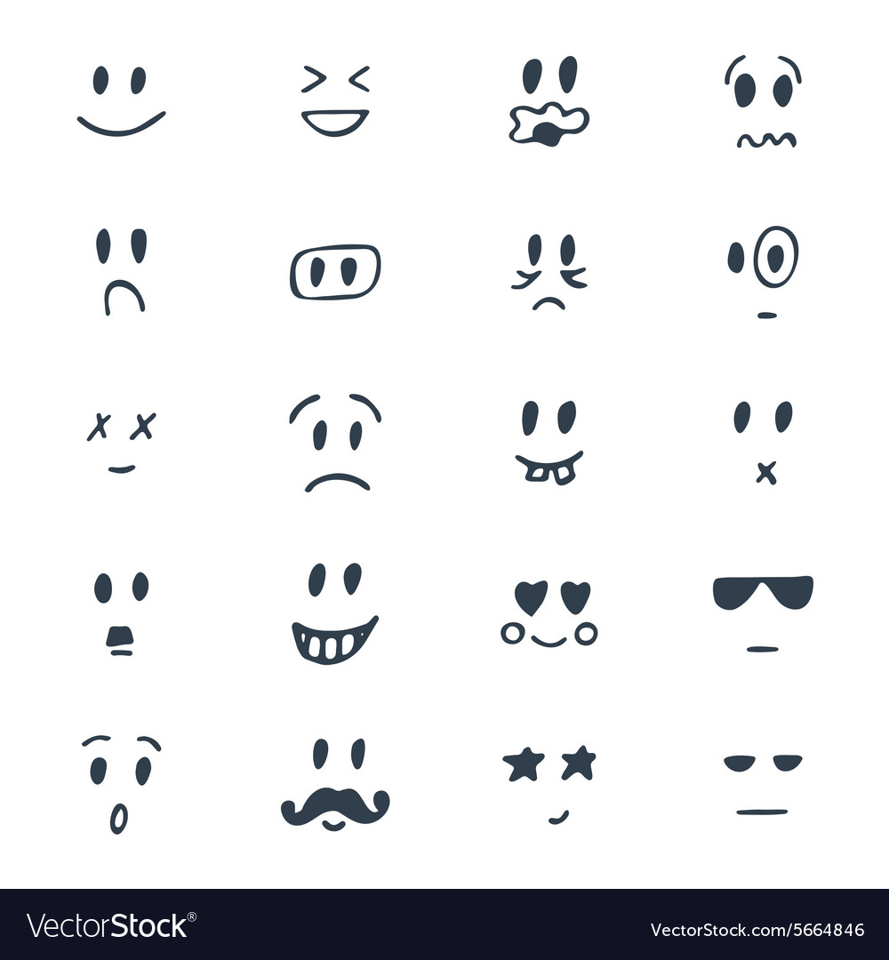 Set of hand drawn smiley faces sketched facial vector