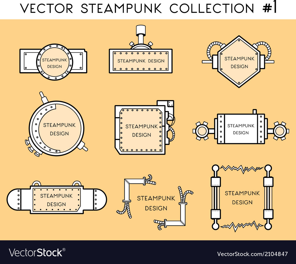 Frame in steampunk style vector
