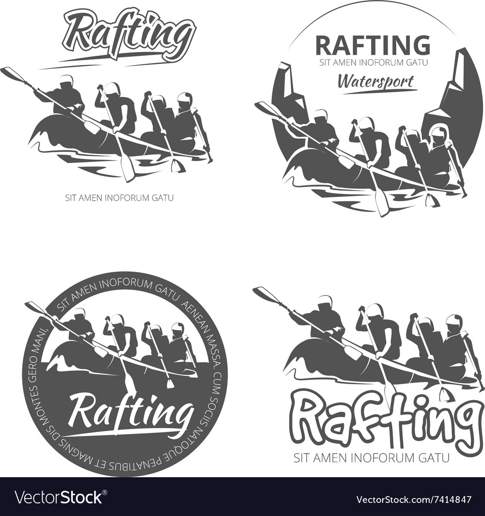 Vintage rafting canoe and kayak labels vector