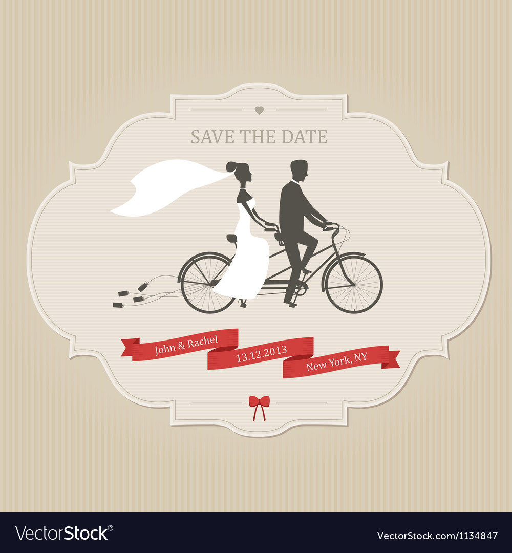 Vintage wedding invitation with tandem bicycle vector