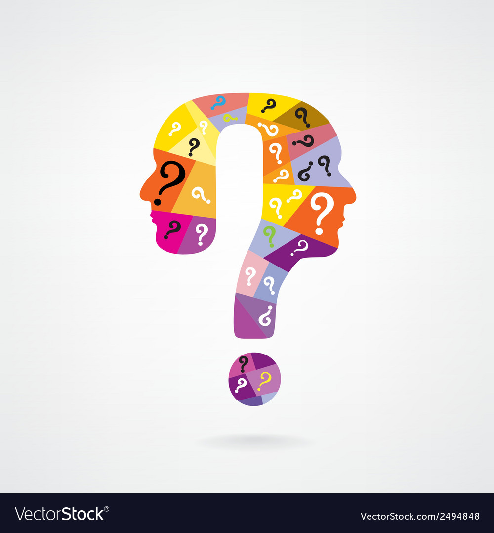 Colorful question mark man head symbol vector