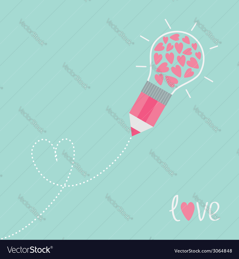 Pencil with light bulb and hearts dash line heart vector