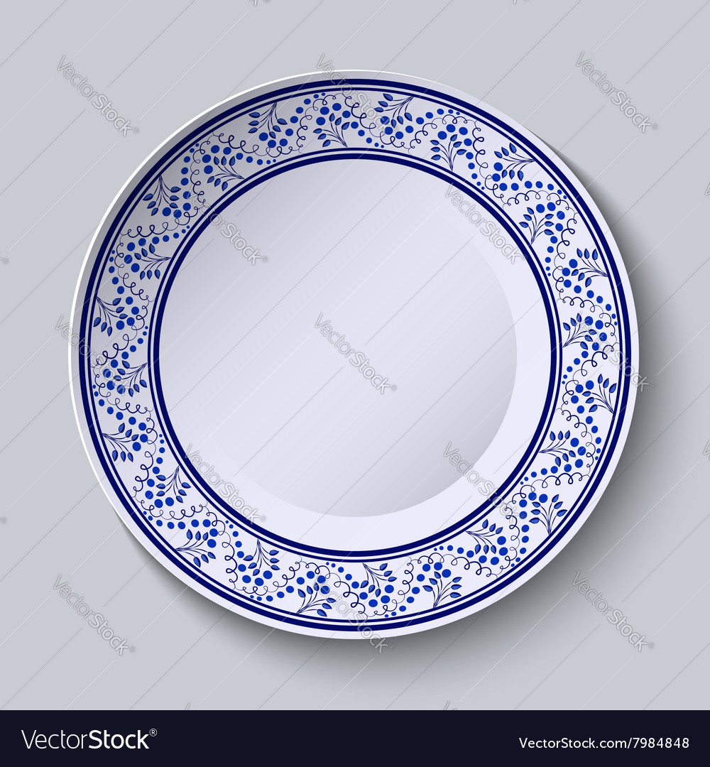 Plate with blue decorative border template design vector