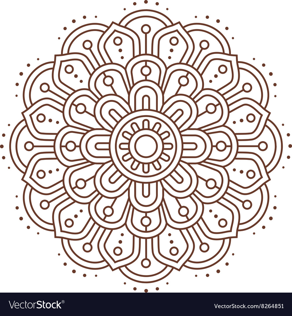 Abstract indian mandala line vector