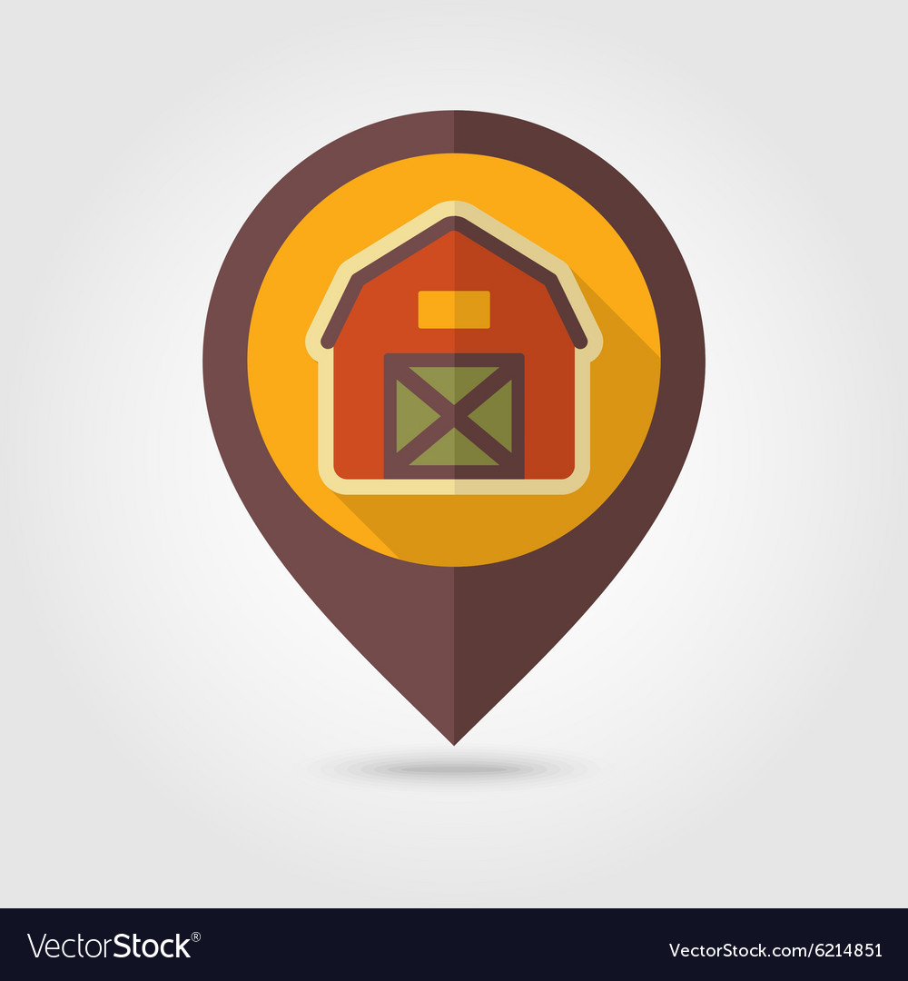 Barn house flat mapping pin icon with long shadow vector