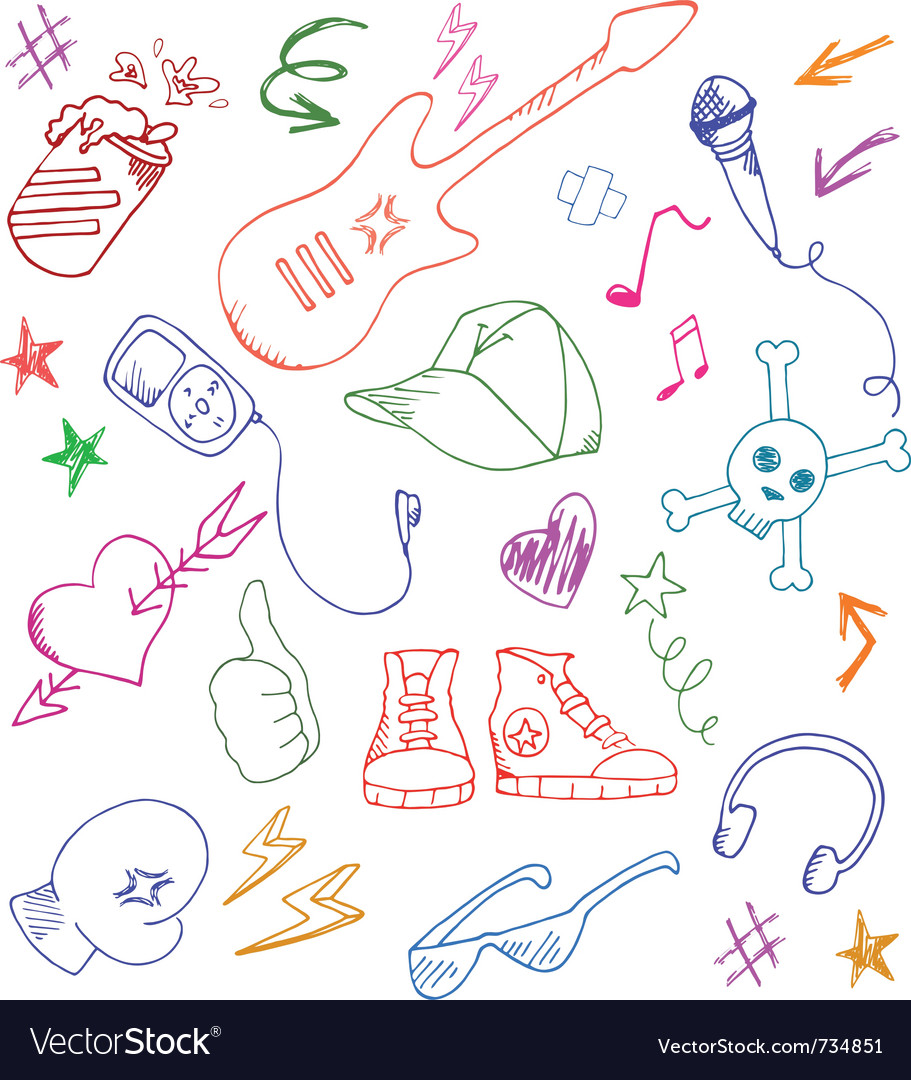 Cool doodles vector