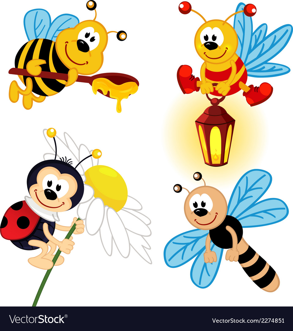 Set of icon insects vector