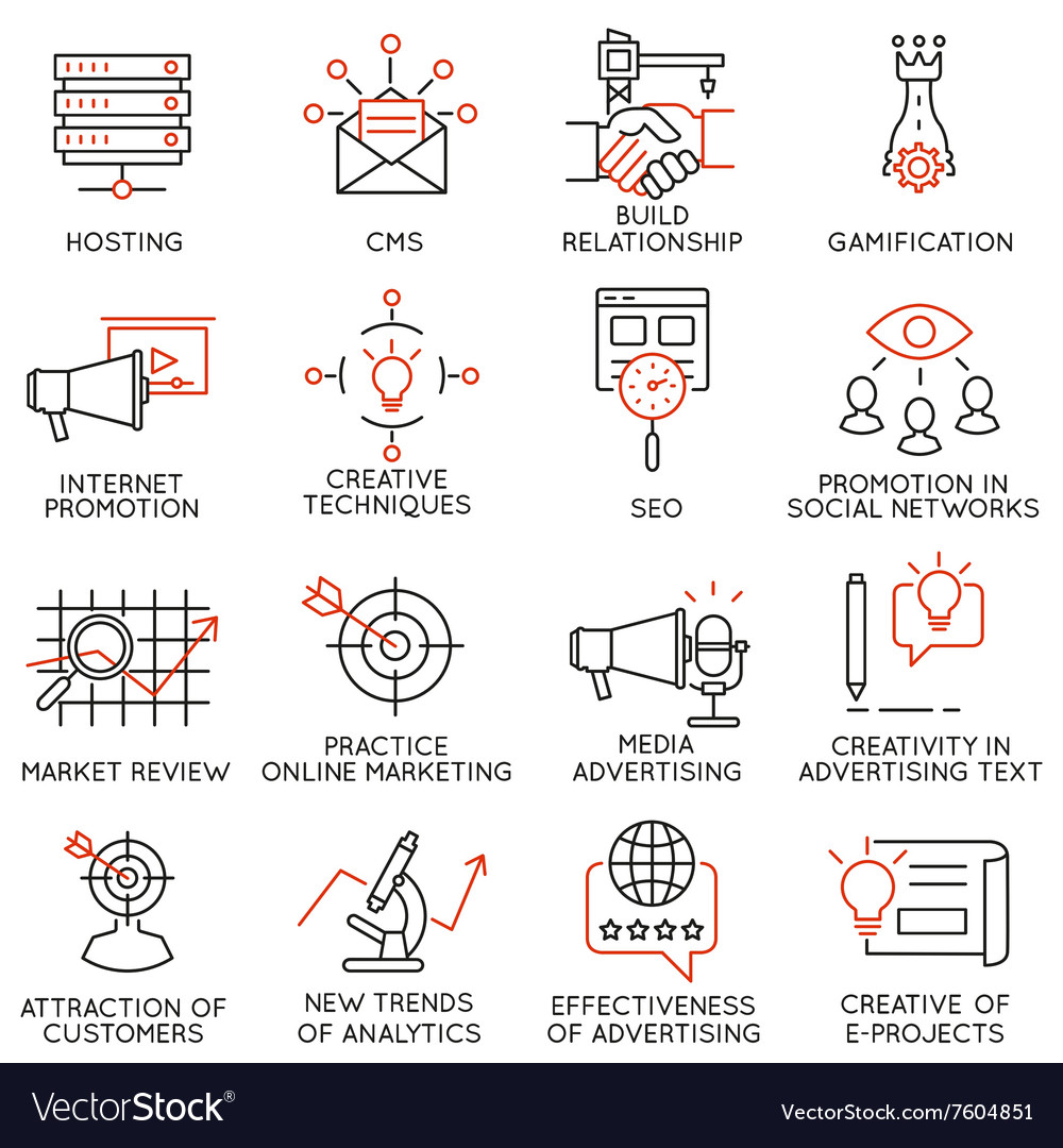 Set of icons related to business management  32 vector
