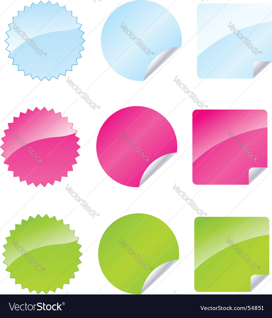 Set of multicolored badges vector