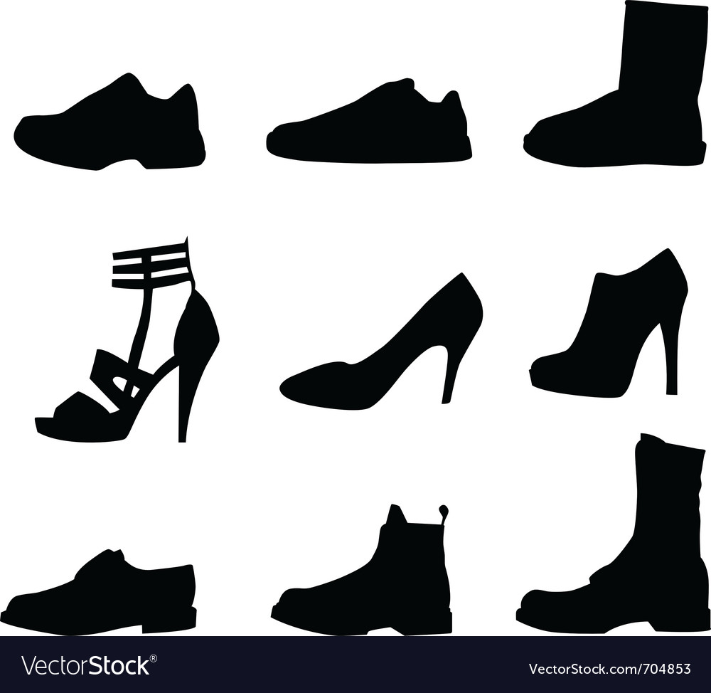 Nine shoes silhouettes vector