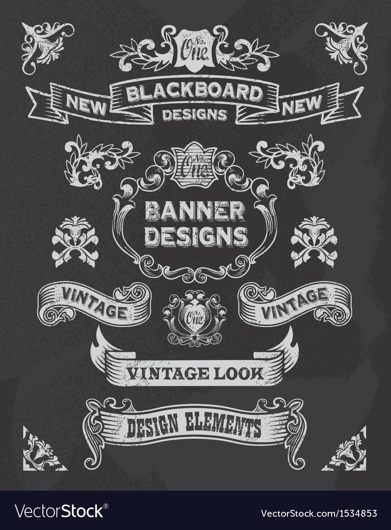 Retro banner and ribbon blackboard design set vector