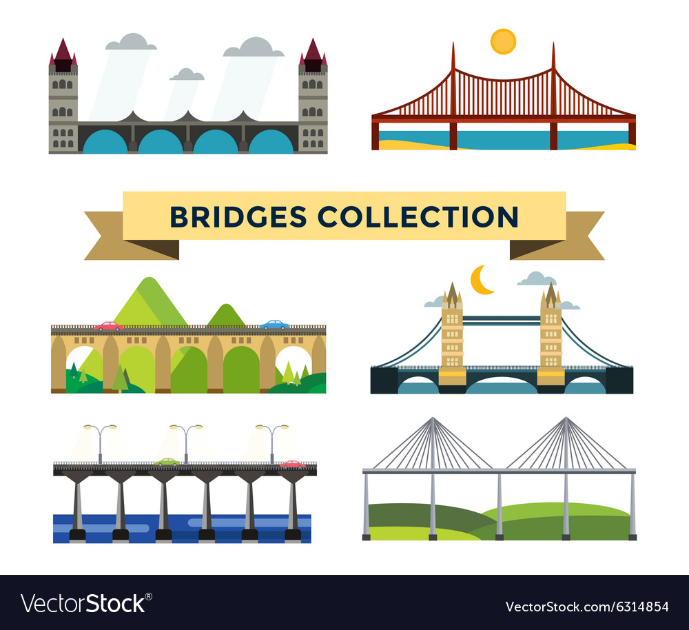 Bridge silhouette set vector