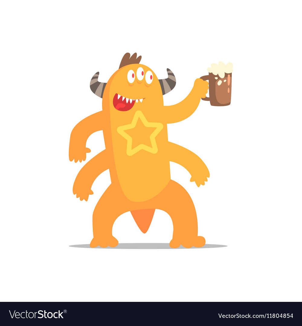 Happy monster with four arms and horns drinking vector