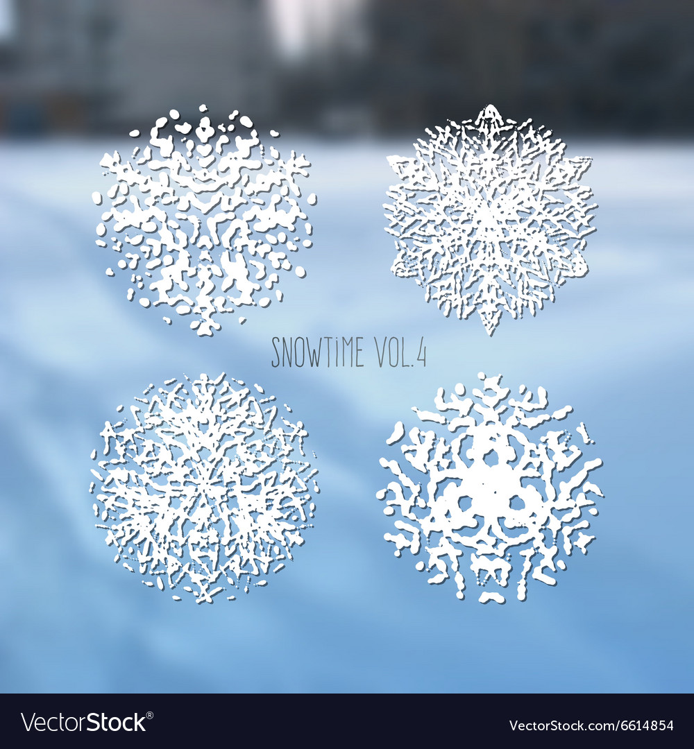 Snowflakes collection on winter blurred background vector