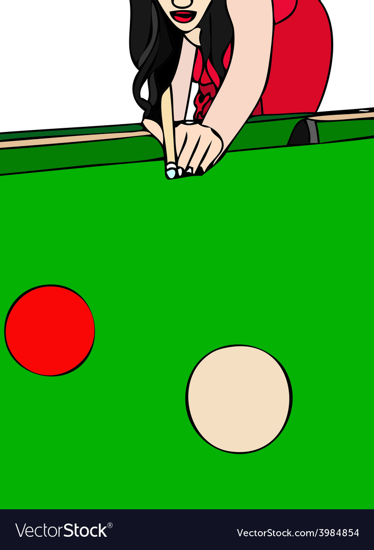 Woman playing billiards vector