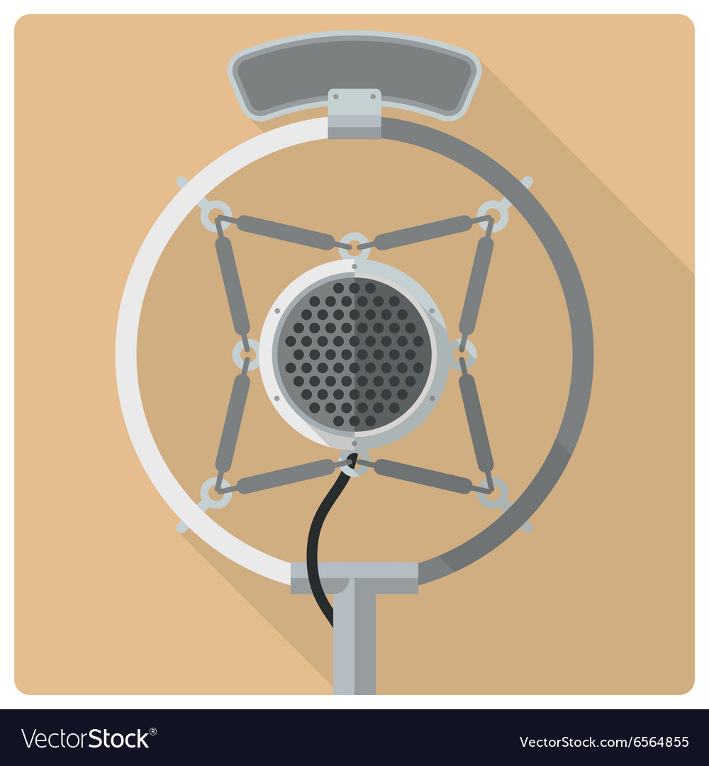 Retro vintage microphone icon vector